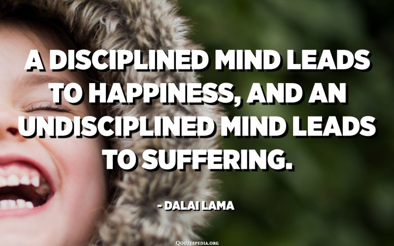 A disciplined mind leads to happiness, and an undisciplined mind leads to suffering. - Dalai Lama