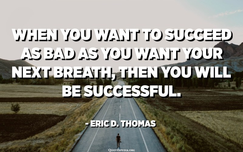 When you want to succeed as bad as you want your next breath, then you will be successful. - Eric D. Thomas