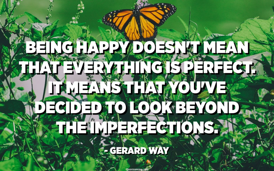 Being happy doesn't mean that everything is perfect. It means that you've decided to look beyond the imperfections. - Gerard Way
