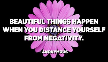 Beautiful things happen when you distance yourself from negativity. - Anonymous