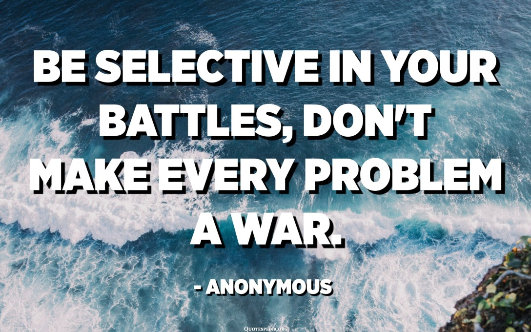 Be selective in your battles, don't make every problem a war. - Anonymous