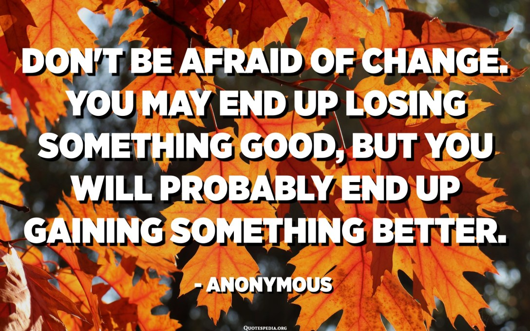 Don't be afraid of change. You may end up losing something good, but you will probably end up gaining something better. - Anonymous