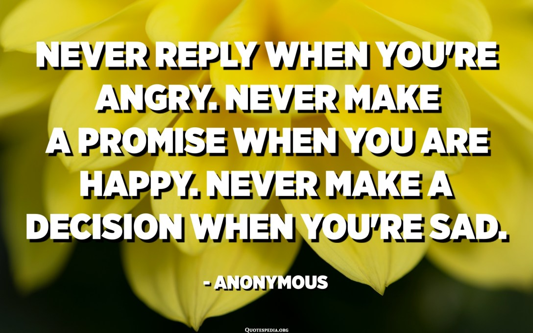 Never reply when you're angry. Never make a promise when you're happy. Never make a decision when you're sad. - Anonymous