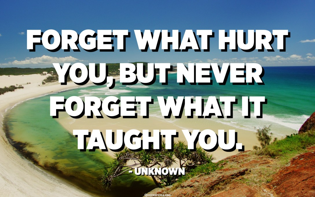 Forget what hurt you, but never forget what it taught you. - Unknown