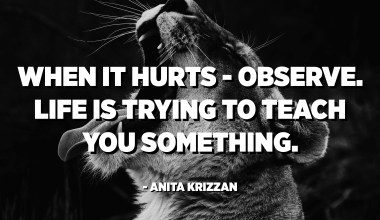 When it hurts - observe. Life is trying to teach you something. - Anita Krizzan