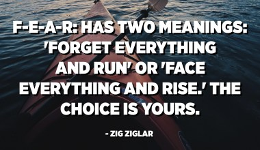 FEAR: has two meanings: 'Forget Everything And Run' or 'Face Everything And Rise.' The choice is yours. - Zig Ziglar