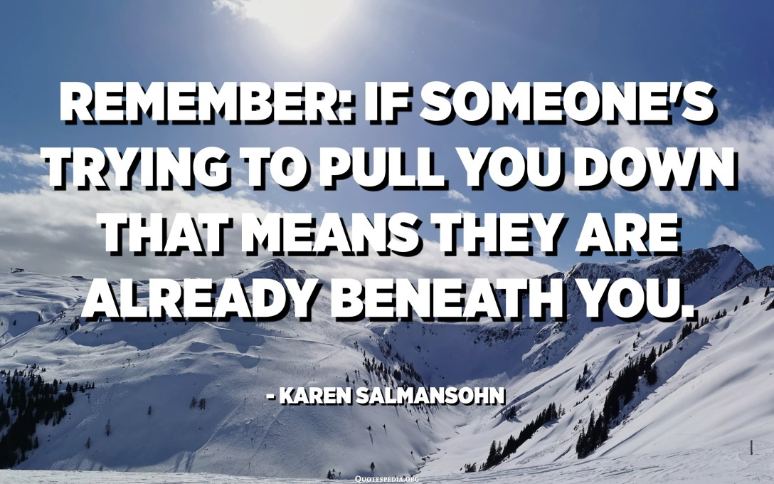 Remember: If someone's trying to pull you down that means they're already beneath you. - Karen Salmansohn