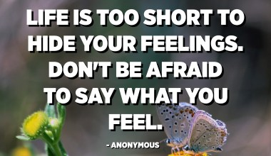 Life is too short to hide your feelings. Don't be afraid to say what you feel. - Anonymous