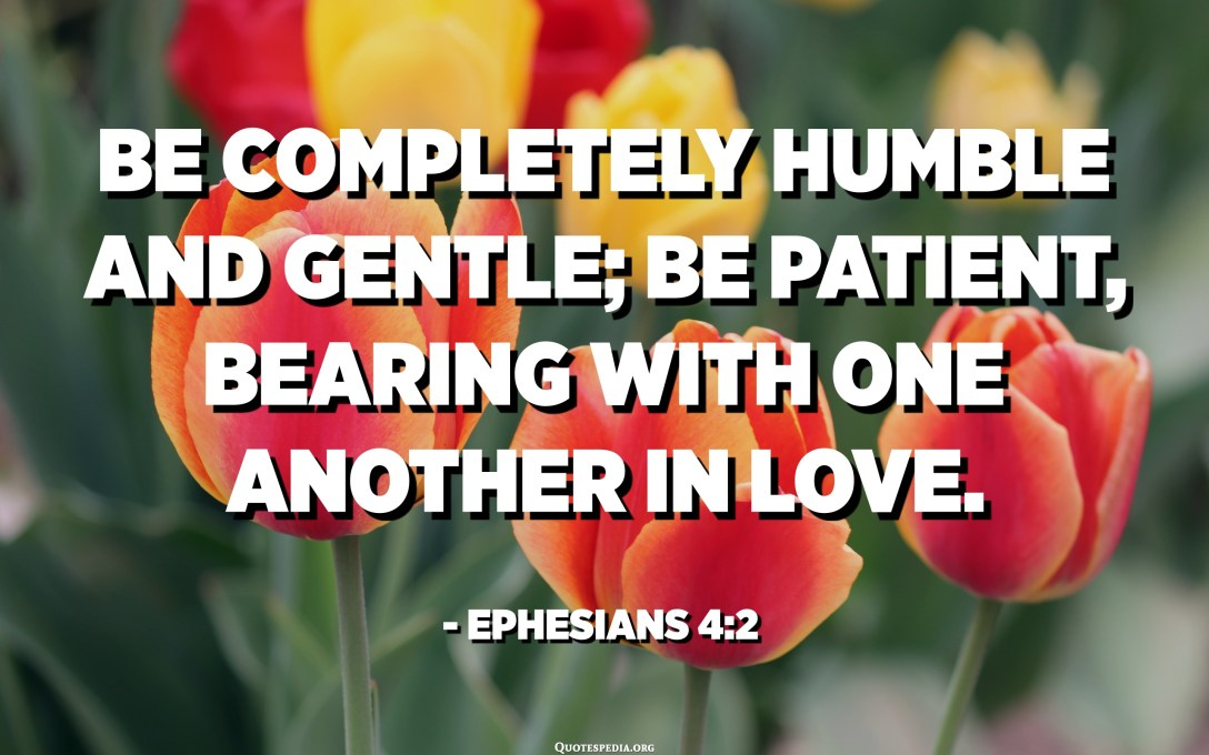 Be completely humble and gentle; be patient, bearing with one another in love. - Ephesians 4:2