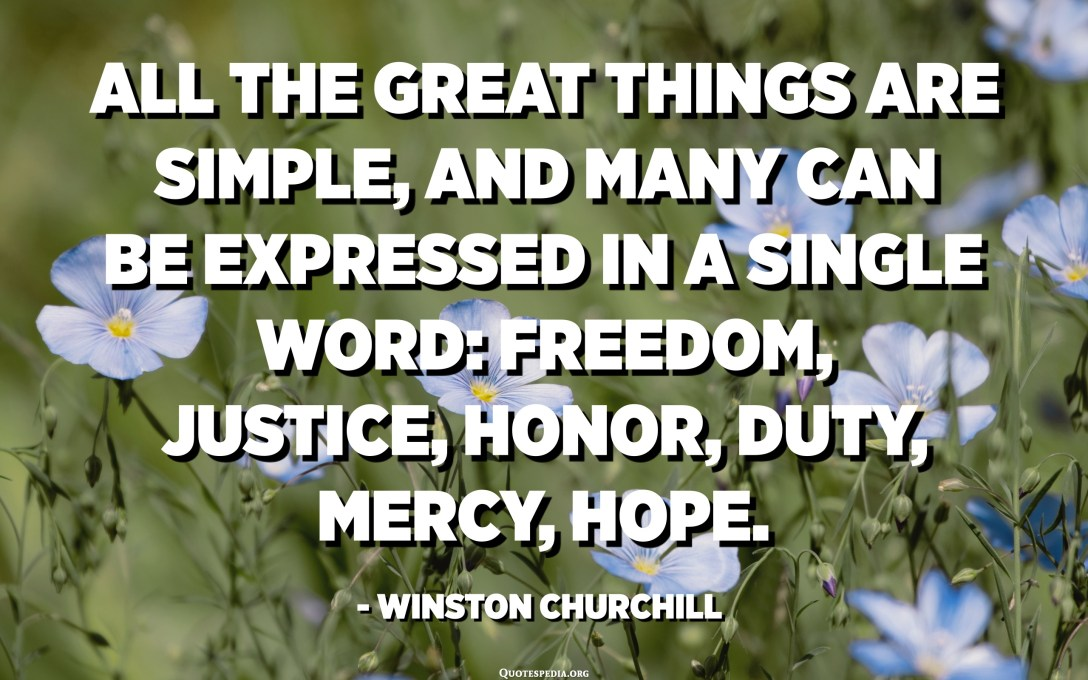 All the great things are simple, and many can be expressed in a single word: freedom, justice, honor, duty, mercy, hope. - Winston Churchill