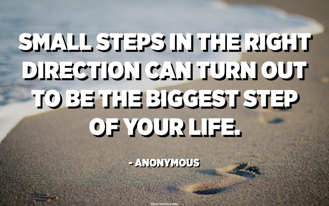 Small steps in the right direction can turn out to be the biggest step of your life. - Anonymous