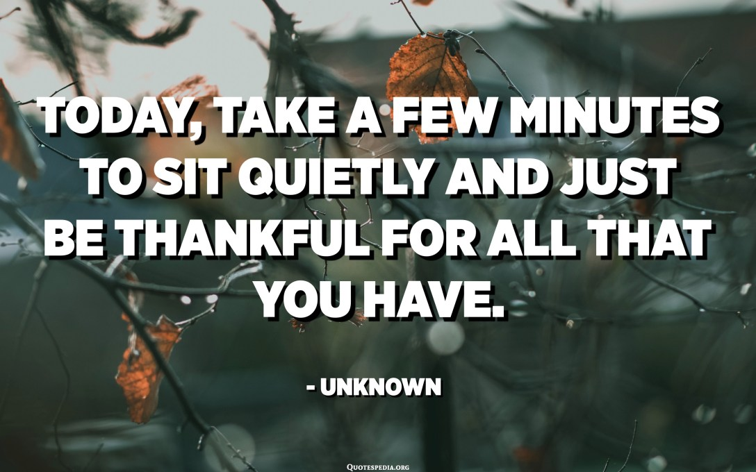 Today, take a few minutes to sit quietly and just be thankful for all that you have. - Unknown