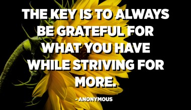 The key is to always be grateful for what you have while striving for more. - Anonymous