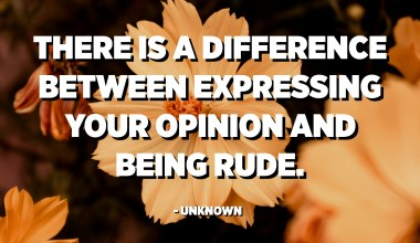 There is a difference between expressing your opinion and being rude. - Unknown
