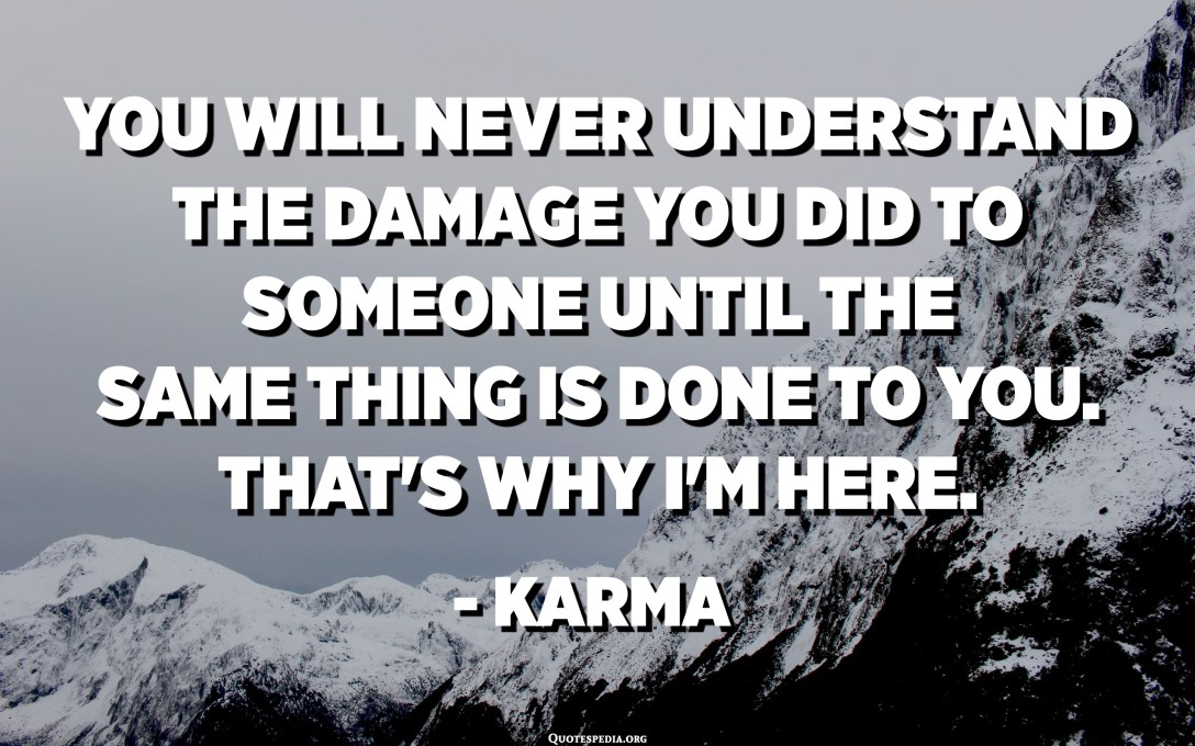 You will never understand the damage you did to someone until the same thing is done to you. That's why I'm here. : Karma - Unknown