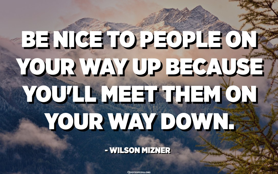 Be nice to people on your way up because you'll meet them on your way down. - Wilson Mizner