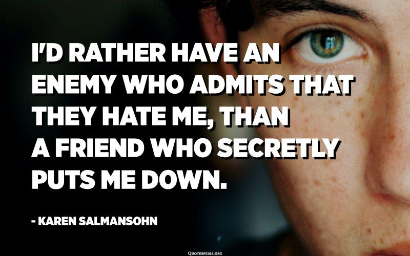 I'd rather have an enemy who admits that they hate me, than a friend who secretly puts me down. - Karen Salmansohn