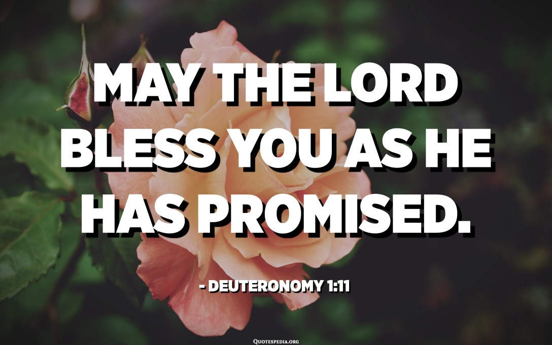 May the Lord bless you as He has promised. - Deuteronomy 1:11