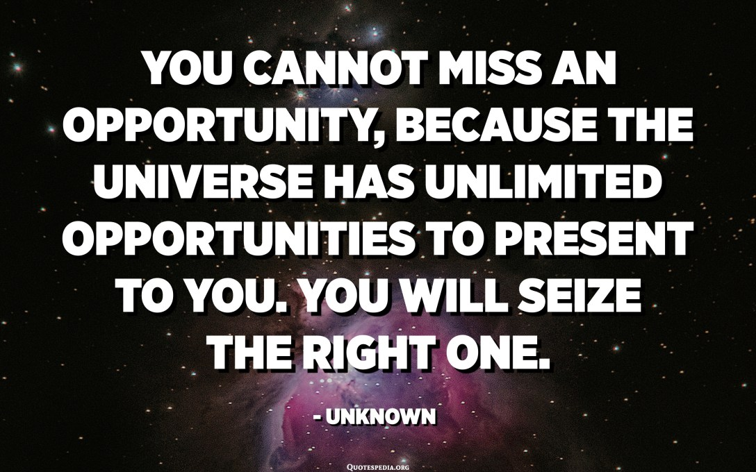 You cannot miss an opportunity, because the Universe has UNLIMITED opportunities to present to you. You will seize the right one. - Unknown