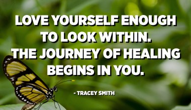 Love yourself enough to look within. The journey of healing begins in you. - Tracey Smith