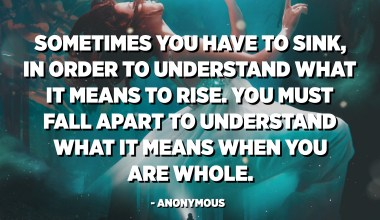 Sometimes you have to sink, in order to understand what it means to rise. You must fall apart to understand what it means when you are whole. - Anonymous