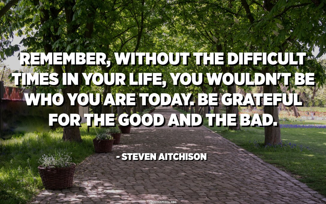 Remember, without the difficult times in your life, you wouldn't be who you are today. Be grateful for the good and the bad. - Steven Aitchison