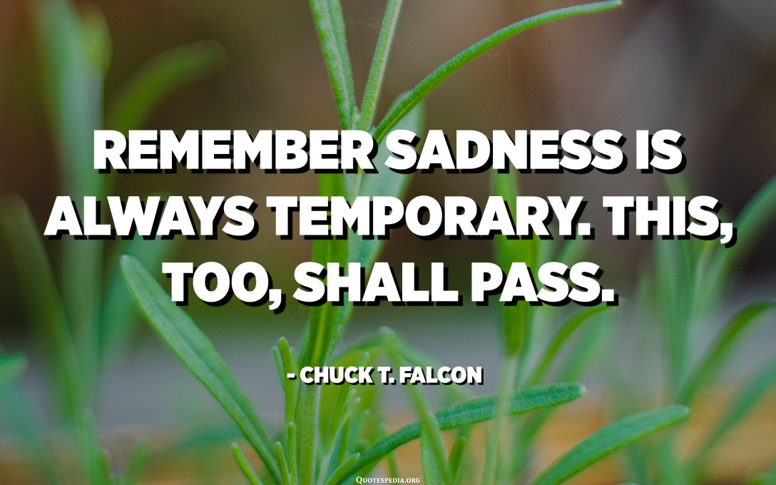 Remember sadness is always temporary. This, too, shall pass. - Chuck T. Falcon