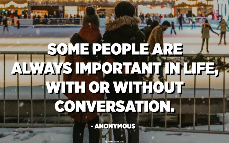 Some people are always important in life, with or without conversation. - Anonymous