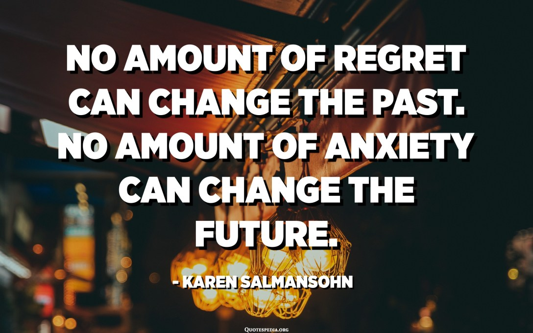 No amount of regret can change the past. No amount of anxiety can change the future. - Karen Salmansohn