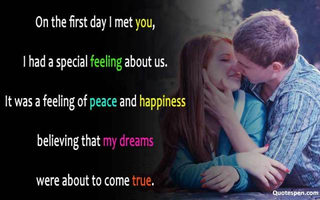 on the first day I met you-wife love quote