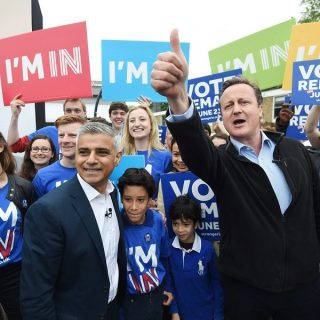 David Cameron and Sadiq Khan campaign in London