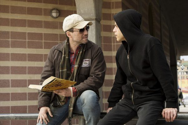 "MR. ROBOT - ""ones-and-zer0es.mpeg"" Episode 102 -- Pictured: (l-r) Christian Slater as Mr. Robot, Rami Malek as Elliot -- (Photo: David Giesbrecht/USA Network)"
