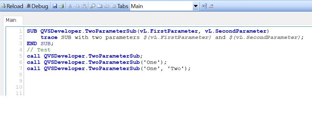 Qlikview SUB Optional Arguments – Can Subroutines have optional parameters?