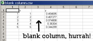 the CSV file contains a blank column