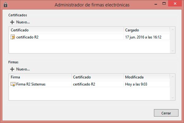 Administrador de firmas electrónicas