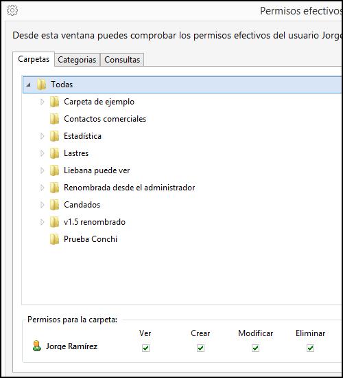 Ventana de permisos efectivos de un usuario