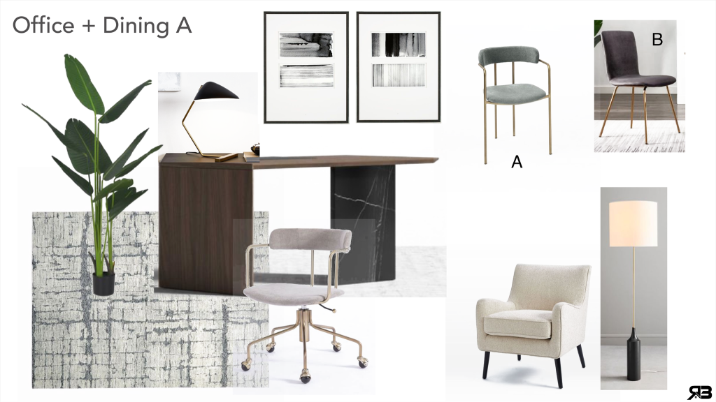 Interior redesign mood board for office and dining room by R3 Home Staging
