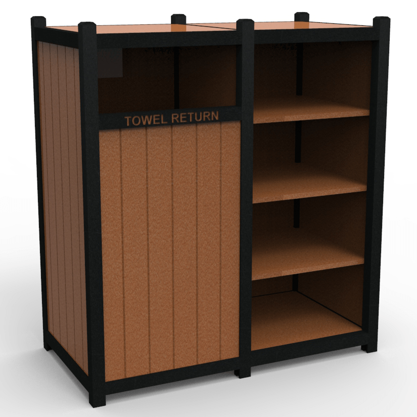 Towel Valet With Double Shelf Storage R3 Site Furnishings