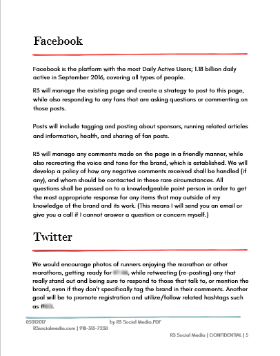 A page for Facebook and Twitter for a sample social media marketing proposal