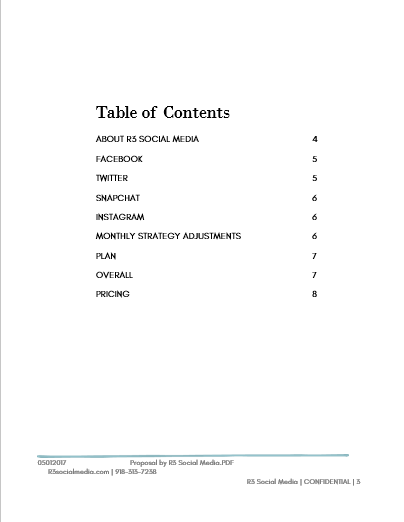 A table of contents for a sample social media marketing proposal