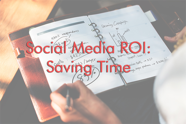Notebook showing a social media marketing campaign plan with ROI