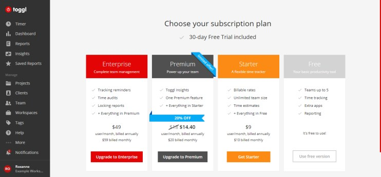 Example of pricing plans for this time tracking app.