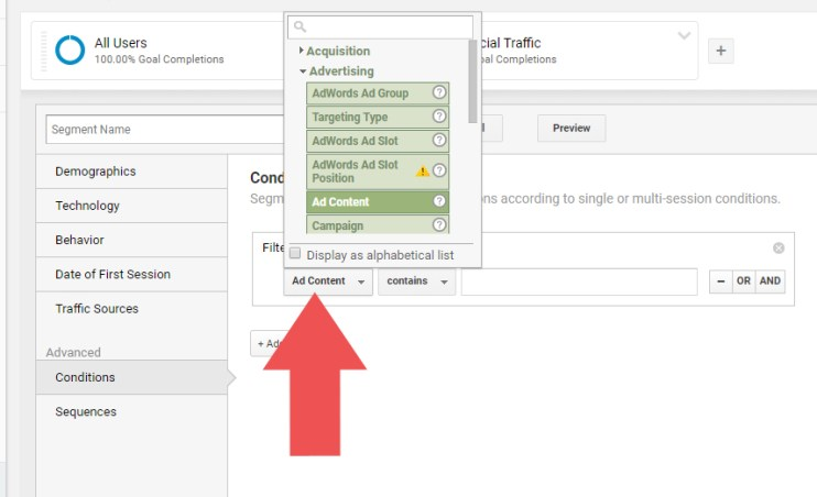 "We have to choose our ""landing page"" to filter our dark social traffic from the rest of the traffic in Google Analytics"
