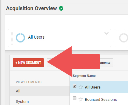 "The ""New Segment"" button in Google Analytics also helps us find our Dark Social Media Traffic"