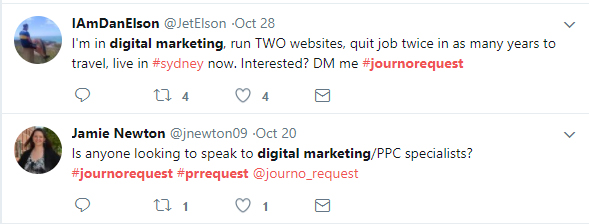 These Twitter accounts were looking for people to come to them with linking opportunities.