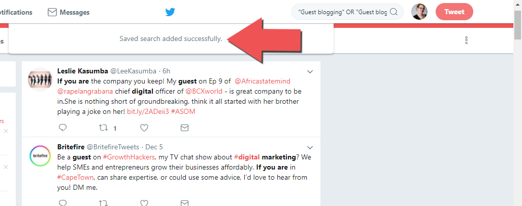 This Twitter search has been saved so we can use it to earn links in our future social media and SEO campaigns.