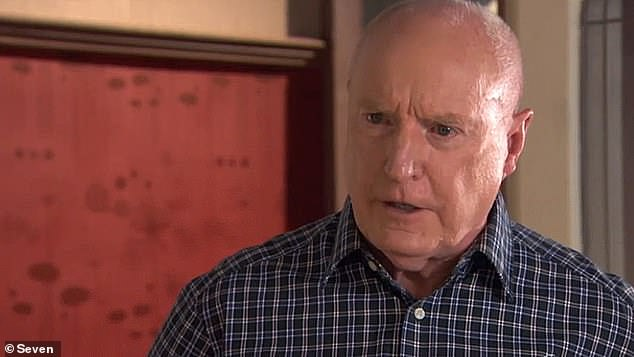 Closed for business: Channel Seven's long-running soap Home and Away on Sunday was the biggest TV series to be SHUT DOWN over reports of coronavirus. Pictured: Ray Meagher on the show, portraying Alf Stewart