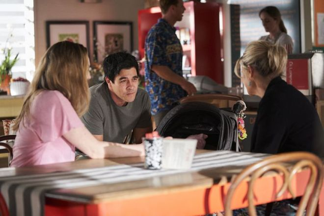 Tori Morgain,Justin Morgan and Marilyn Chambers in Home and Away.