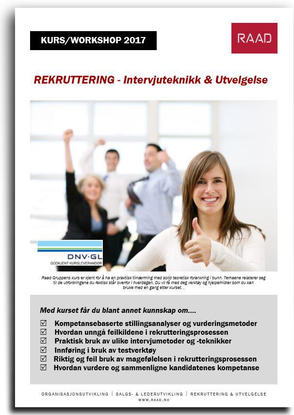 Brosjyre kurs i rekruttering, utvelgelse og intervjuteknikk