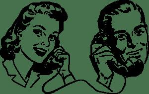 Talking on phone communication clip art
